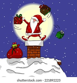 Santa juggling gifts on a chimney. Hand drawn vector illustration.