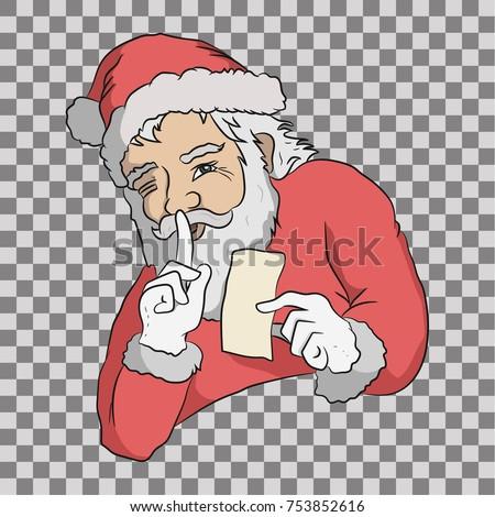 Santa keeping secret santa claus greeting stock vector royalty free santa is keeping secret santa claus with greeting card hand drawn vector illustration m4hsunfo