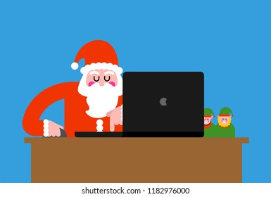 Santa laptop working. Grandfather Christmas and notebook. vector illustration