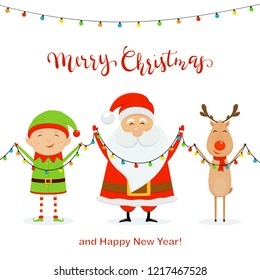 Santa with little elf and cute deer holding colorful christmas lights, isolated on white background with lettering Merry Christmas and Happy New Year, illustration.