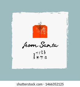 from Santa with love cute Christmas quote greeting card cartoon childish illustration