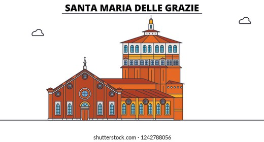 Santa Maria Delle Grazie line travel landmark, skyline, vector design. Santa Maria Delle Grazie linear illustration.