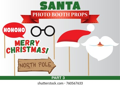 Santa Merry Christmas and New Year Photo Booth Props, Fun Party printable speech bubble, beard, hat, glasses, north pole, hohoho sign.