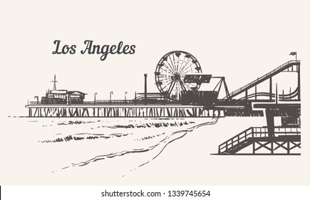 Santa Monica beach with an amusement park sketch.  Los Angeles hand drawn vintage vector illustration.  Isolated on white background.