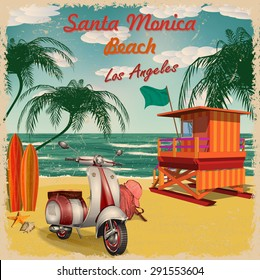 Santa Monica Beach, California retro poster.