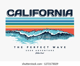 Santa Monica beach text with waves and sun vector illustrations. For t-shirt prints and other uses.