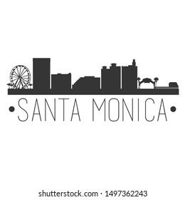 Santa Monica California. City Skyline. Silhouette City. Design Vector. Famous Monuments.