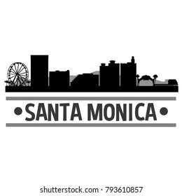 Santa Monica California USA USA Skyline Silhouette Stamp City Design Vector Art Template