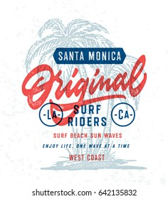 Santa Monica Original Surf Riders T Shirt Graphics. Surfing Apparel Typography Print. Vector Design.