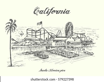 Santa Monica Pier California sketch style,hand drawn,isolated,vector.