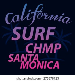 santa monica surf typographic for t-shirt,vector illustrator