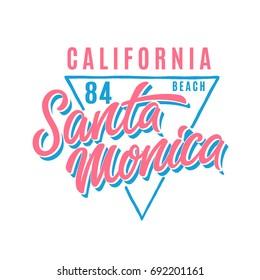Santa Monica t-shirt design. Vector illustration.