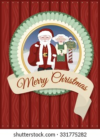Santa and Mrs Claus holiday Christmas greeting card.  Banner says Merry Christmas.  Shows Santa and Mrs Claus in a winter landscape.