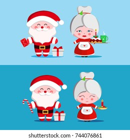 Santa and Mrs Claus. Mother and Father Christmas.Vector illustration.