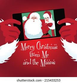 Santa and Mrs. Claus selfie EPS 10 vector