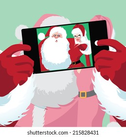 Santa and Mrs. Claus selfie EPS 10 vector