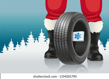 Santa offers automobile tires with winter marking for Christmas