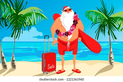 Santa on the beach with a suitcase and a surfboard