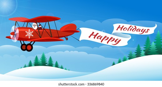 Santa on the plane with banner Happy Holidays. Illustration in cartoon style.