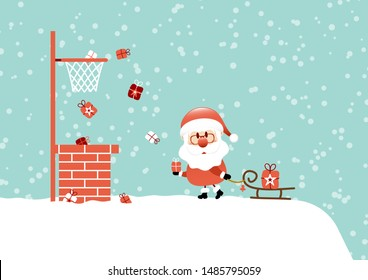 Santa On Roof With Sleigh Basketball Snow Turquoise