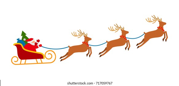 Santa on Sleigh and His Reindeers Isolated on White Background. flat vector illustration