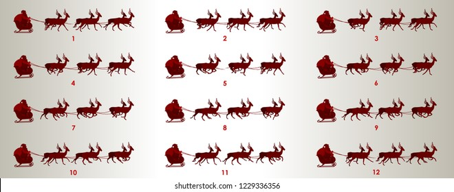 Santa on sleigh with reindeer animation sprite sheet, Can be used for GIF animation
