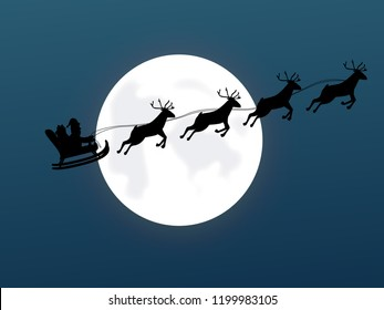 Santa on sleigh with reindeer on the background of the moon. Cartoon Vector Illustration. EPS 10