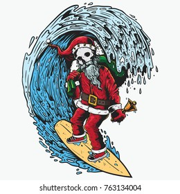 Santa on surfboard in tunnel of wave sea carry gift for Christmas illustration drawing with color
