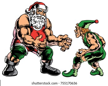 Santa and one of his elves facing off in full wrestling gear. Great for winter wrestling tournaments as shirt graphics or poster art.