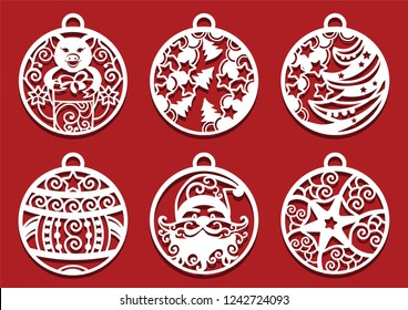 Santa, Pig holding gift inside Christmas balls. Symbol of 2019 for laser cutting. Set of New Year decorations