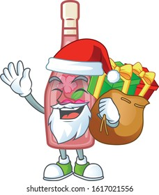 Santa pink bottle wine Cartoon character design having box of gift