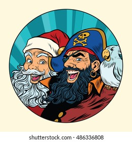 Santa and the pirate, pop art retro vector illustration