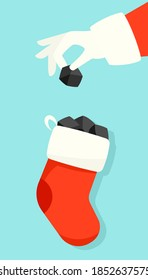 Santa puts lump of coal in christmas stocking illustration. Clipart image.
