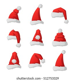 fe3a8ad384a42 Santa red christmas hat vector illustration. Xmass holidays clothes  isolated on white