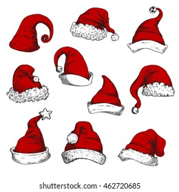 Santa red hats set. New Year and Christmas decoration elements. Vector sketch icons