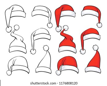 Christmas Hat Drawing.Christmas Hat Draw Stock Illustrations Images Vectors