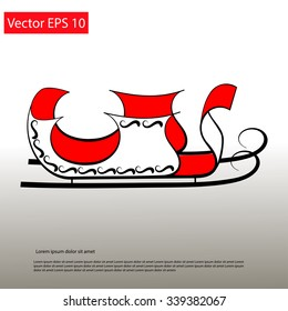 Santa red Sledge elegant line icon. Vector EPS 10