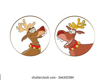 Santa reindeer for Christmas time, funny cartoon for kids