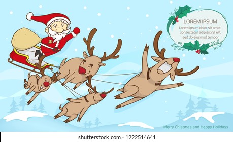 santa and reindeer flying and text frame,merry christmas text frame with santa claus design