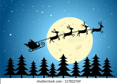 Santa and Reindeer Flying Through a Christmas Night, EPS10 Vector