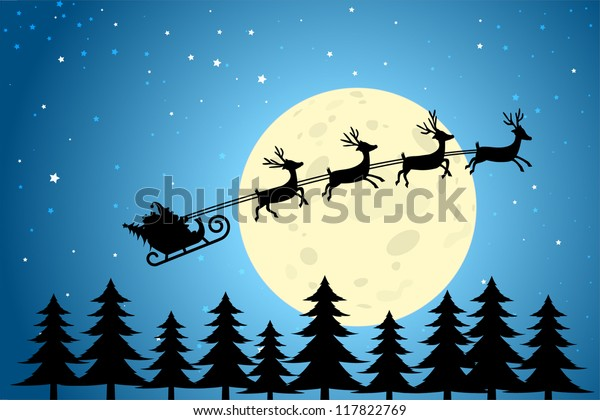 Santa and Reindeer Flying Through a Christmas Night, EPS10 Vector