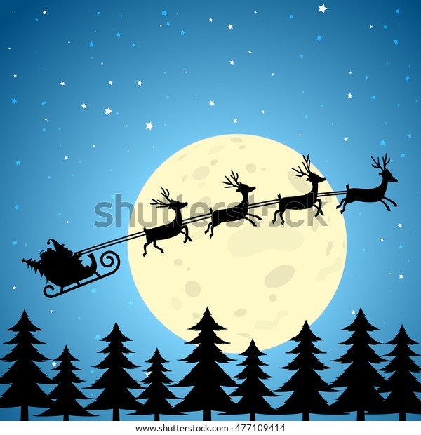 Santa and reindeer flying through the night sky. EPS10 Vector Square Crop