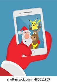 Santa reindeer pokemon self-portrait
