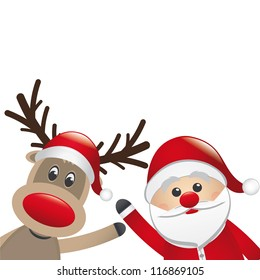 santa and reindeer red nose behind santa claus