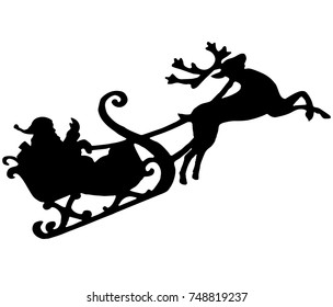 Santa with reindeer silhouette - vector illustration