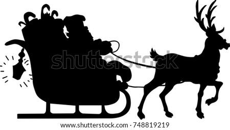 Santa With Reindeer Silhouette