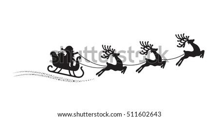 santa reindeer sleigh flying stars magic stock vector royalty free