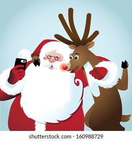 Santa and reindeer take a selfie. EPS 10 vector, grouped for easy editing. No open shapes or paths.