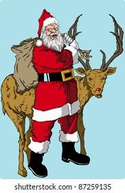santa and reindeer vector illustration