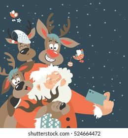 Santa and reindeers take a selfie